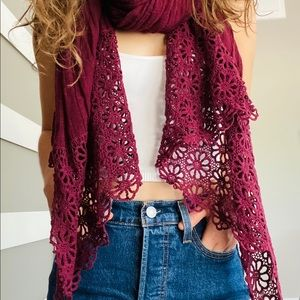 Cranberry Floral Scarf From Iran